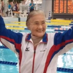 A centenarian woman won a world record during a swimming competition